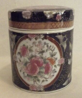 """Beautiful Vintage Chinese Hand Painted Cobalt Blue Porcelain Canister  6"""" T"""