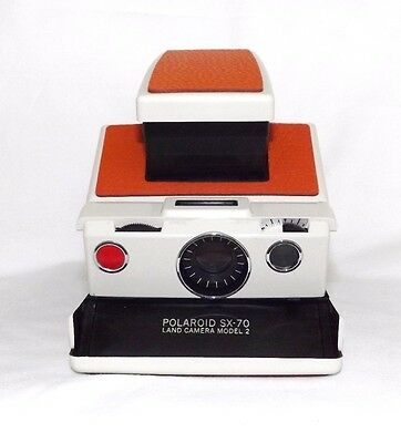 Polaroid SX-70 SLR Land Camera Model 2 Ivory White *Fully Working* Orange