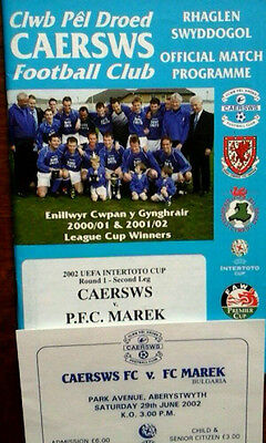 Caersws Fc V Fc Marek 29/6/2002 Uefa Intertoto Cup + Ticket