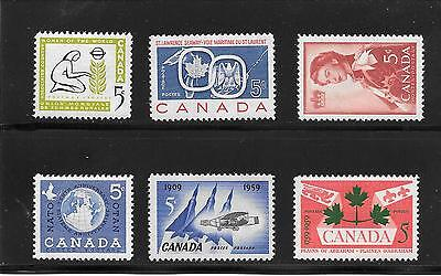 CANADA 1959 YEAR SET of 6 STAMPS # 383 to 388