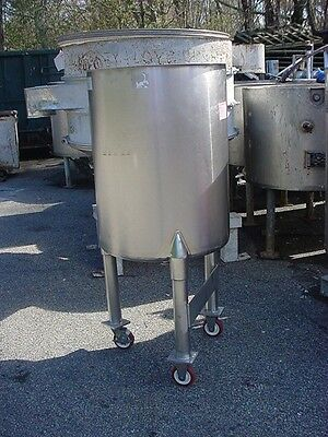 50 gallon STAINLESS STEEL SANITARY TANK cone bottom open top