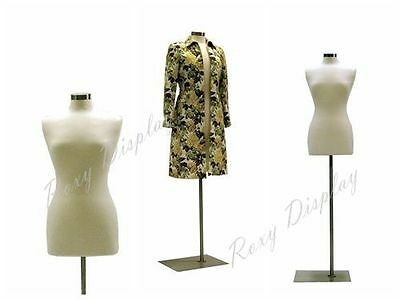 Size 6-8 Female Mannequin Dress Form+Rectangle Metal Base #FWP-W-JF + BS-05