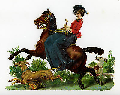 "c1890 VICTORIAN DIE-CUT ALBUM SCRAP ~ VICTORIAN LADY RIDING SIDE-SADDLE 6"" x 5"""