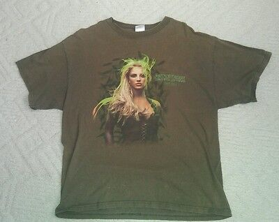 Britney Spears Rare Olive colored 2004 Onyx Hotel Tour T-shirt L  Heavy Cotton