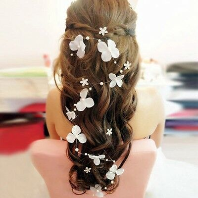 Bridal Hair Jewelry Flowers Girl Pearls Wedding Hair Piece Clip Vine Accessories