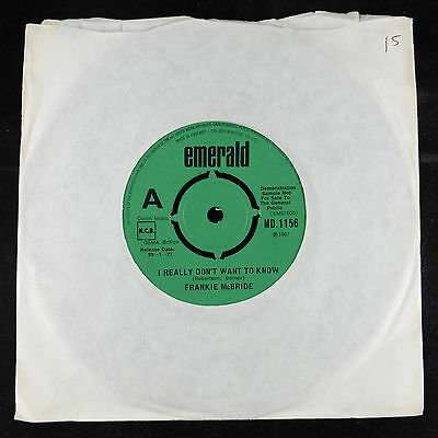 "7"" 45 single (IRISH) Frankie McBride I Really Don't Want To Know Demo NMint"