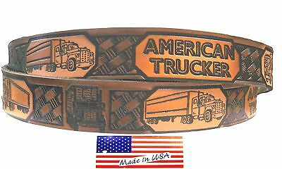 Belt American Trucker Semi Trucks and Trailers Brown Leather Embossed Painted