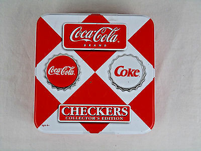 Coca Cola Brand Checkers Game Collector Edition Painted Bottle Caps Tin Sealed