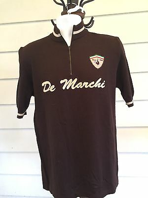 De Marchi Classic Cycling Mens Brown 2XL Short Sleeve 1/4 Zip Embroidered Pullov