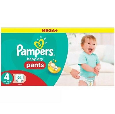 188 Pampers Baby-Dry Nappy Pants Size 4, 2 x 94 Mega+ Pack