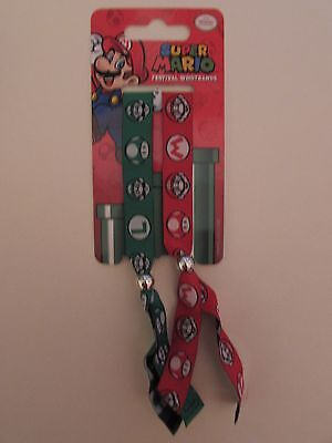 Official Nintendo Super Mario & Luigi Pack of 2 Fabric Festival Wristbands NEW