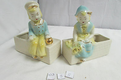 Beautiful Vintage Mid Century Shawnee Dutch Boy and Girl Planters