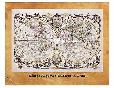 George Augustus Baldwin Ancient World Map 1782 Globe Antique Flat Earth 8X10