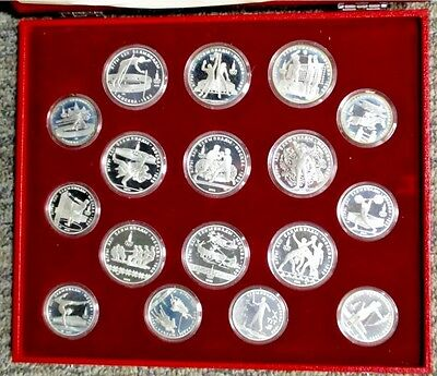 1980 Moscow Olympic * 28 SILVER COIN PROOF SET * w/ box, capsules & COA