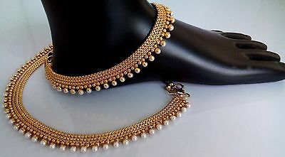 INDIAN/ PAKISTANI Bridal Gold & Pearl 1pcAnklet, Payal, Noopur, Pajeb, Jewellery