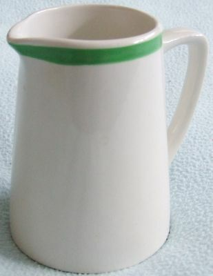 MADDOCK Royal Vitreous England Ceramic White & Green SMALL JUG / MILK JUG