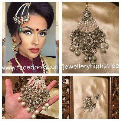 INDIAN Pakistani Bridal Pearl & Clear Matha patti, Jhumar, head jewellery,Pasa