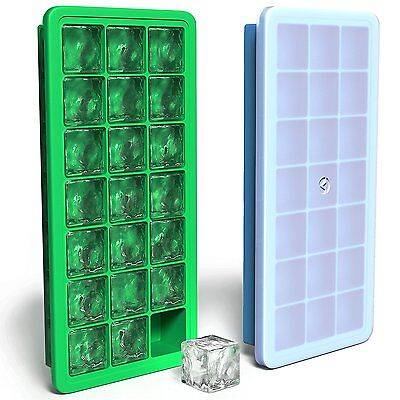 Vremi Silicone Ice Cube Trays with Lids - 2 Pc Covered Ice Cube Tray Set with 42