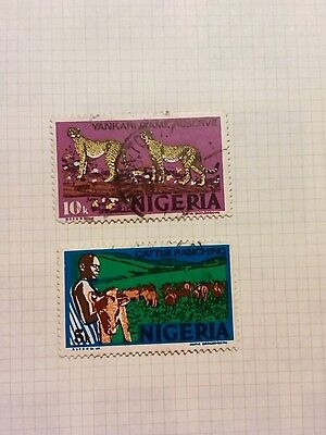 Nigeria stamps 1973 cheetah/cattle