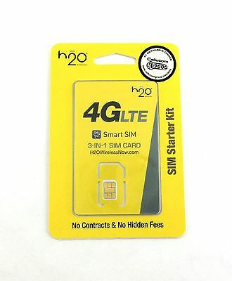 H2O Wireless Triple Cut 3-in-1 SIM Card For AT&T / Unlocked GSM Networks H20 New
