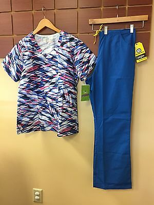 NEW Royal Blue Print Scrubs Set With BIO Large Top & Wink Large Tall Pants NWT