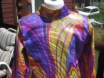 youth Purple yellow shine western show slinky rail shirt leadline trail S M L xl