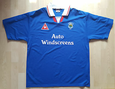 "Vintage Linfield Football Shirt, 1990s, Auto Windscreens, Blue, Size 42/44""."