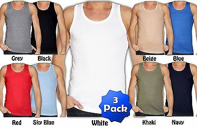 Mens 3 Pack Cotton Vest Regular Fit For Training Sports Gym Fitness Beach