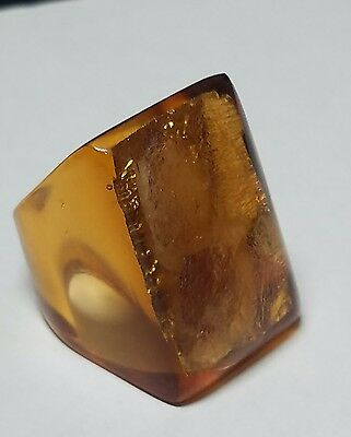 Chunky Orange Lucite/Plastic Translucent with Foil Inclusion Ring