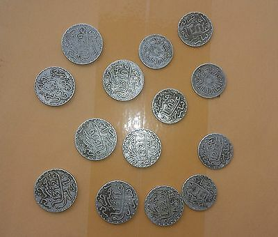 Morocco Moulay Hassan Aziz Hafid Youssef Lot 14 Silver Coins Some Rares Xf+