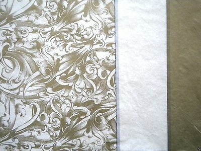 """8 SHEETS PREMIUM QUALITY """"Gold Damask"""" TISSUE PAPER ~ 20"""" x 20"""""""
