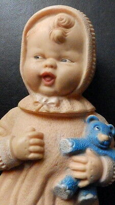 1930 ish squeaky doll with blue teddy bear