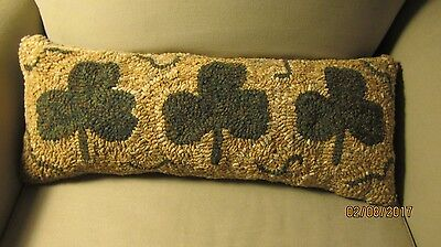 Primitive Hooked Rug Shamrock Pillow Finished St Patrick's Day Folk Art