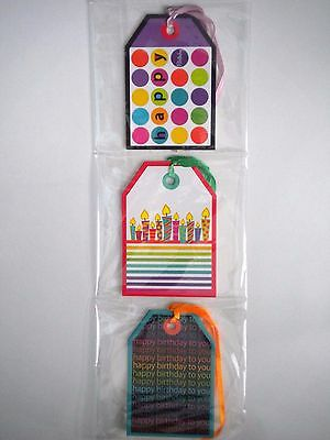 """PKG. OF 9 """"HAPPY BIRTHDAY"""" GIFT TAGS ~ 3 Different Designs~ #2"""