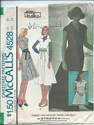 M 4528 sewing pattern 70's retro hip DRESS in 4 lengths Stylish BELT sew size 12