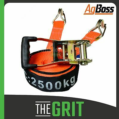 AgBoss Pair of 9m x 50mm 2500kg Ratchet Tie Down Straps Heavy Duty Truck Trailer