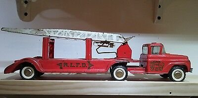 VINTAGE 1960s Buddy L BLFD Fire Engine Red Truck Toy Car Steel Pressed Antique