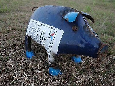 "Mexican Metal Art 16"" Drum Metal Pig Sculpture Garden Patio Farm Decor"