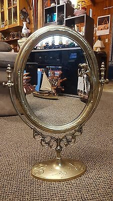 BEAUTIFUL ANTIQUE SOLID BRASS LARGE SWIVEL VANITY DRESSING TABLE MIRROR 50x35cm