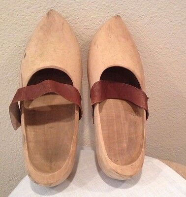 Vintage Handcarved Large Wooden Clogs Shoes (Size 11) Made in Holland w/straps