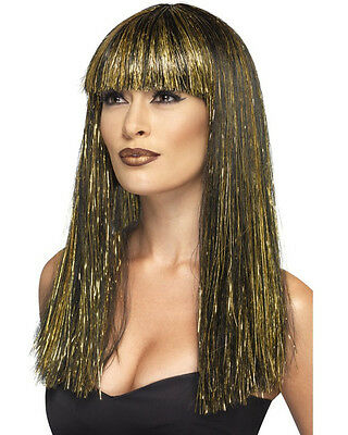 Womens Egyptian Black Wig With Gold Tinsel Accent Costume Accessory