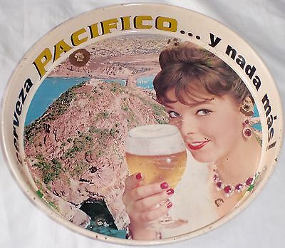 """Vintage Pacifico Beer Metal Deep Serving Tray Bar 13"""" x 1.75"""" Mexico Spanish WoW"""