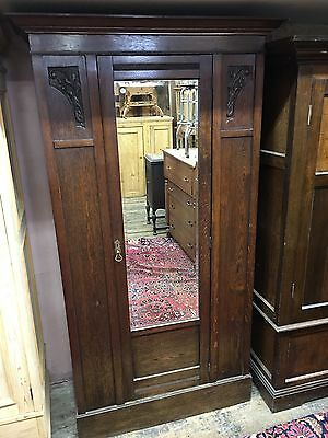 Antique English Carved Oak Armoire Wardrobe 1910 Nice