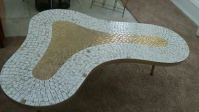 Vintage Mid Century Interstate Tile Top Kidney Table Retro MCM white gold color