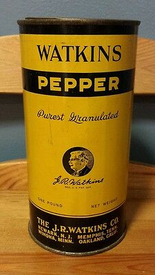 VTG 1946 Copyright Large J. R. Watkins Pepper 1 LB Spice Litho Tin - Part Full!