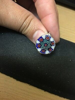 Sterling Silver murano glass millefiori ring size 7 made in Italy