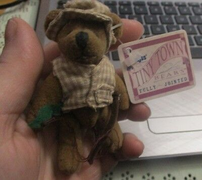 Russ Tiny Town Miniature Jointed Plush Teddy Bear fisher man 3""