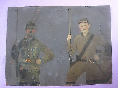 Orig.,rare Civil War Era,full Plate Colored Tintype .' Confederate Brothers '