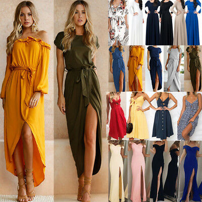 UK Women Cocktail Evening Party Tunic Dresses Long Sleeve Slim Long Maxi Dresses
