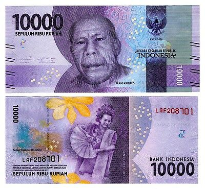 2016 Indonesia 10,000 Rupiah Uncirculated One Note